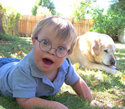 Special needs boy with dog